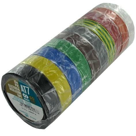 Isolierband Set mit 10x Rollen je 10m 15mm diverse Farben