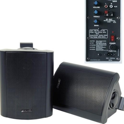 Aktiv Lautsprecher 2x80 Watt mit Montagebügel Schwarz