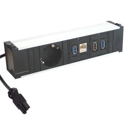 Tischdose Einsatz 220V + 1xHDMI + LAN + 2xUSB Dose