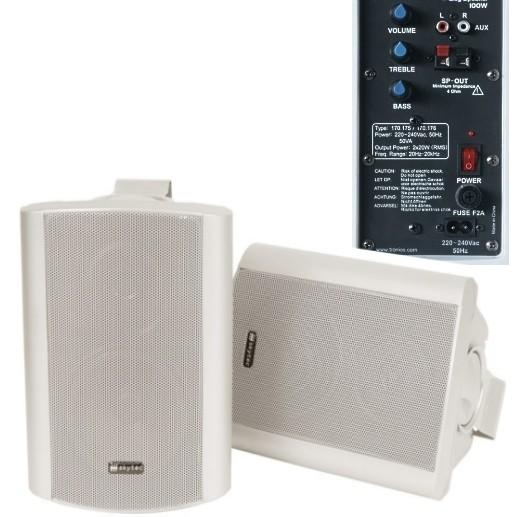 Aktiv Lautsprecher 2x80 Watt mit Montagebügel Weiss