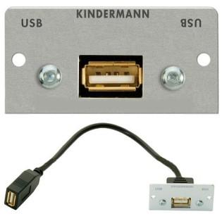 USB Buchse Einbau Version --A-- ALU-Blende mit Kabelpeitsche