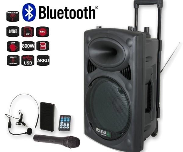 Mobile Musikanlage Beschallungsanlage mit MP3 Player USB 2xFunkmikro 800W Bluetooth