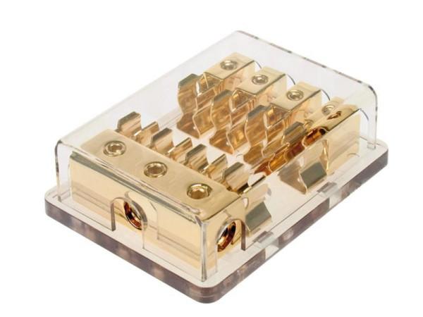 Sicherungshalter Verteiler 4-fach für 10x38mm AGU Sicherung vergoldet