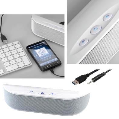Aktiv Lautsprecher NSP512 Weiss USB Klinke USB Lautsprecher
