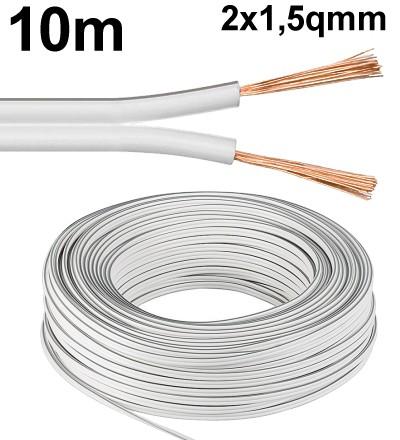 10m Lautsprecherkabel 2x 1,5qmm Ring Weiss Litze