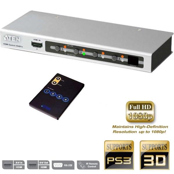 HDMI Switch 4xIN auf 1xOut HDMI Umschalter 3D HD RS232 mit Fernbedienung