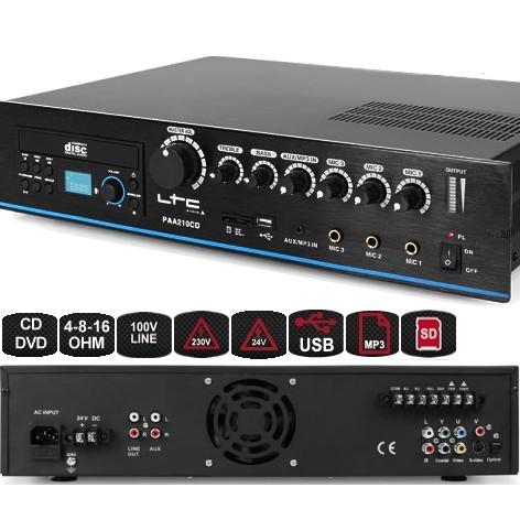 ELA Verstärker 210W Zentrale CD DVD MP3 USB 230V 24V 4-8Ohm 100V