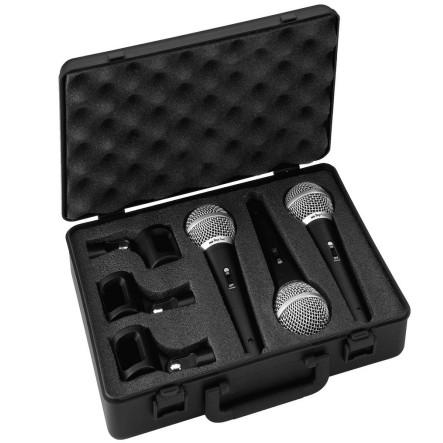 3er SET Mikrofon Kabelmikrofon dynamisch mit Koffer