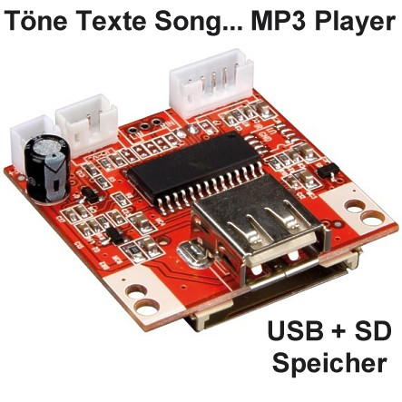 MP3 Player Platine für USB SD Karte mit Taster Eingang