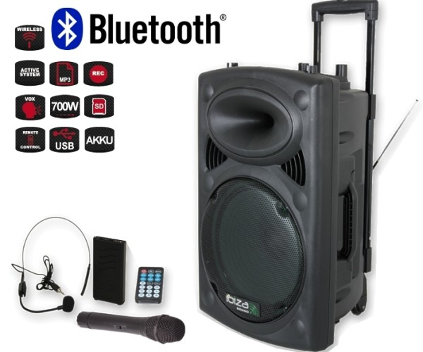 Mobile Musikanlage Beschallungsanlage mit MP3 Player USB 2xFunkmikro 700W Bluetooth