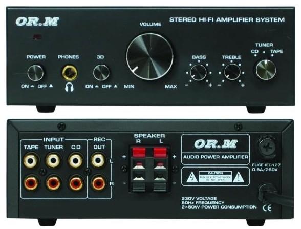 Verstärker ORM Mini-Verstärker 2x50 Watt 2Kanal Stereo Schwarz