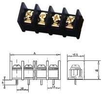 Printklemme vergoldet 4-fach bis 300V 20A