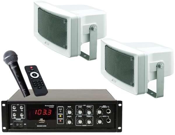 Reithallenlautsprecheranlage Set-R1 (4-teilig) mit Kabelmikro