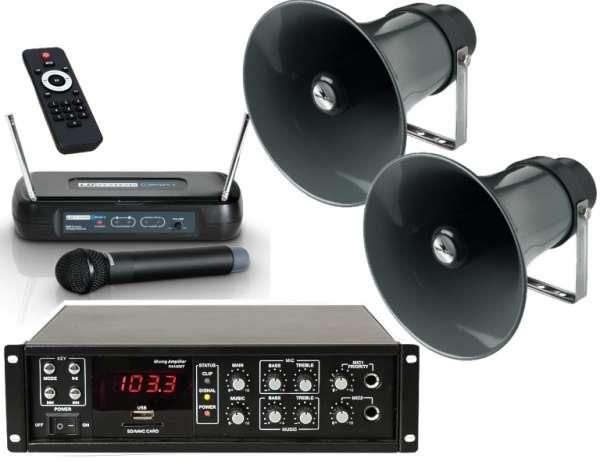Sportplatz Lautsprecheranlage Set-3 (4-teilig) mit Funkmikro