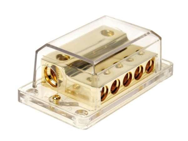 Strom Verteiler 7-fach 2x50qmm 5x20qmm Masseverteiler vergoldet