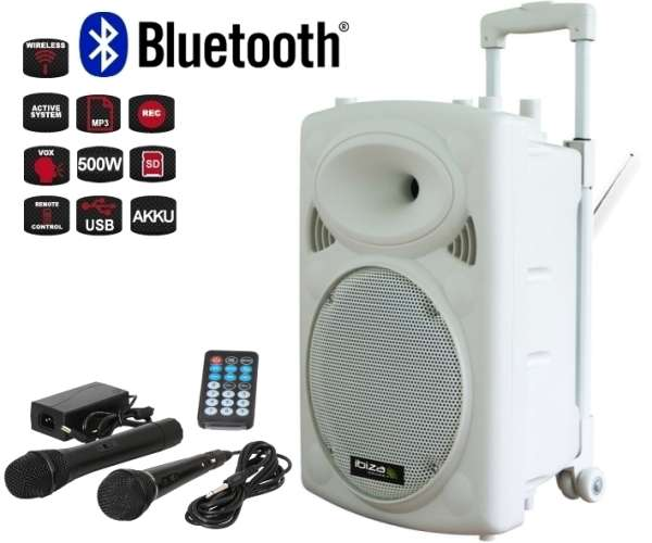 Mobile Musikanlage Beschallungsanlage mit MP3 Player USB 1xFunkmikro 500W Bluetooth