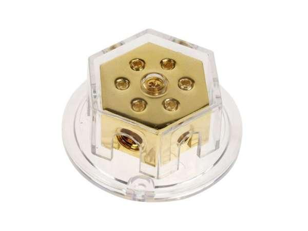 Strom Verteiler 6-fach 2x50qmm 4x20qmm Masseverteiler vergoldet