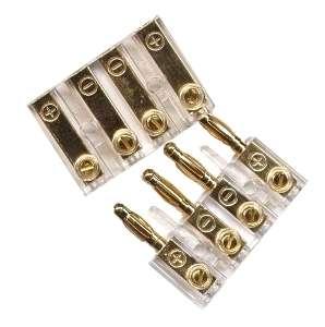 Bananenstecker vergoldet 4-fach Plexi-Gold bis 4qmm