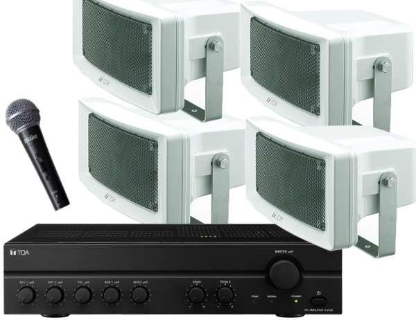 Sportplatz Lautsprecheranlage Set-16 (5teilig) mit Mikro