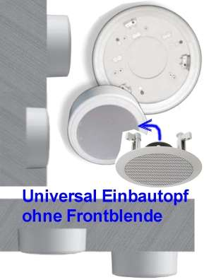 Aufbautopf Einbautopf für Deckenlautsprecher 190-220mm